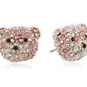 🆕Betsey Johnson Women's Pave Bear Stud Earrings